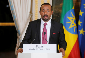 Ethiopian Prime Minister Abiy Ahmed speaks during a media conference at the Elysee Palace in Paris
