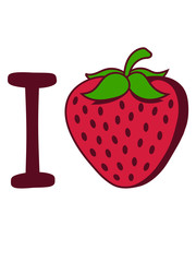 form liebe herz i love erdbeere fruchtig lecker obst beeren hunger essen gesund naschen kochen marmelade clipart comic cartoon
