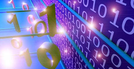 Codice binario, illustrazione 3D.