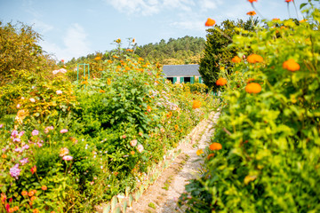 Landscape view on the beautiful Claud Monet's garden, famous french impressionist painter in Giverny town in France