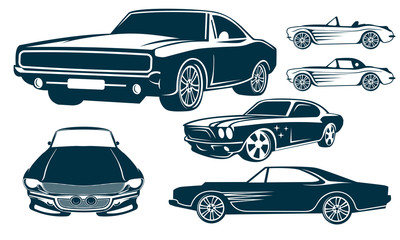 set of muscle car logo design template