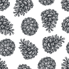 Hand draw engraving of a pine cone in a seamless pattern.