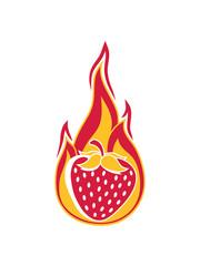 brennen feuer flamme heiß hot erdbeere fruchtig lecker obst beeren hunger essen gesund naschen kochen marmelade clipart comic cartoon