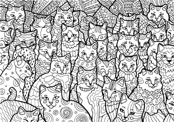 Black illustration of pack of funny cats