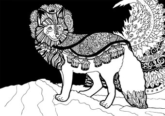 Fantasy fox prince with floral ornamentation. Black and white illustration