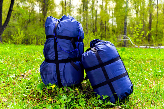 Sleeping tourist bags blue, rolled up in the forest on a background of grass.
