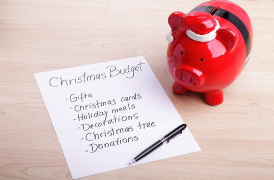 Piggy bank and a Christmas budget plan