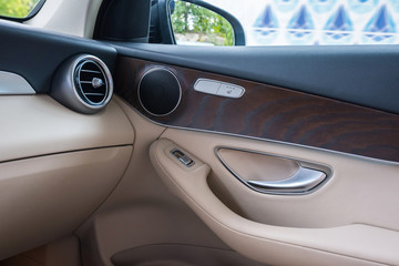 Automobile door from within. Car interior