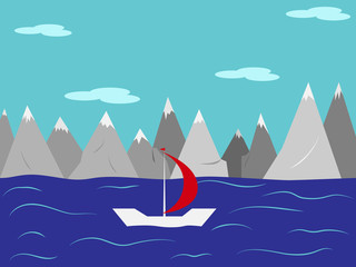 Landscape. Yacht with a red sail in the sea against the mountains