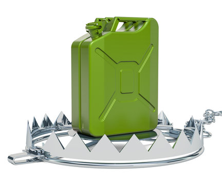 Gasoline canister, jerrycan on bear trap, 3D rendering
