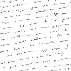 Handwriting background seamless pattern grunge letters words