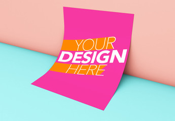 Poster Leaning on Pink and Blue Background Mockup