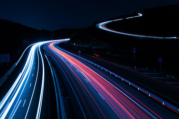 Spoed Foto op Canvas Nacht snelweg Highway car light trails at night