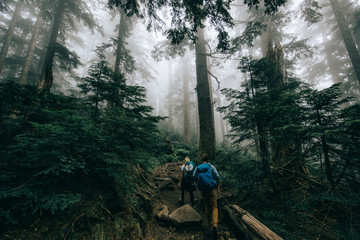 Two people going on a hike