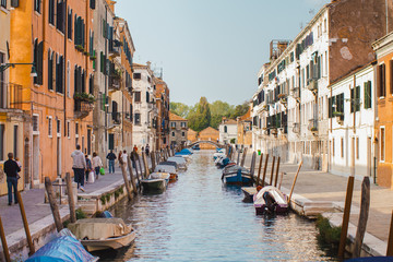 Fototapeten Kanal Venice, beautiful romantic italian city on sea with great canal and gondolas. View of venetian narrow canal. Venice is a popular tourist destination of Europe.