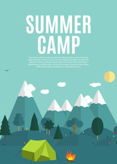 Summer Camping Nature Background in Modern Flat Style with Sample Text