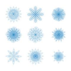 Snowflakes. Set. Blue.