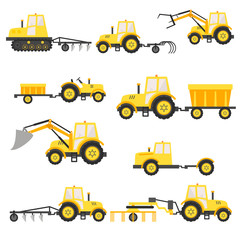 Agricultural harvesting vehicles set with tractor harvesting trailer.