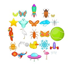 Flank icons set. Cartoon set of 25 flank vector icons for web isolated on white background