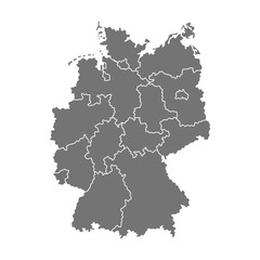 Administrative map of Germany with regions. Vector illustration isolated on white background