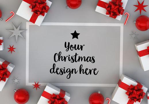 Christmas Card and Gifts on Gray Surface Mockup