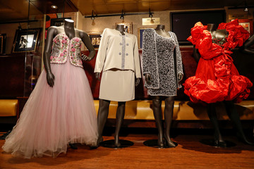 Dresses and gowns worn by late singer Aretha Franklin are displayed during press preview for Julien's Auction in New York