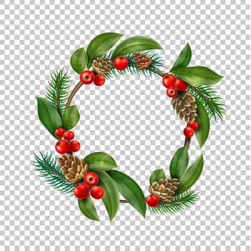 Vector christmas wreath with berry, cone leaves
