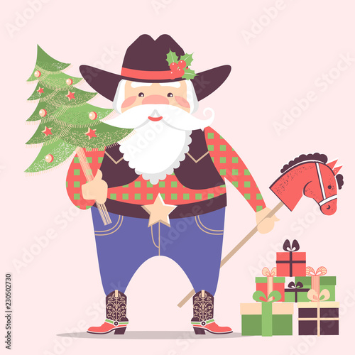 5886ab2a97aae Cowboy Santa Claus in western hat and holiday gifts .Vector christmas  illustration