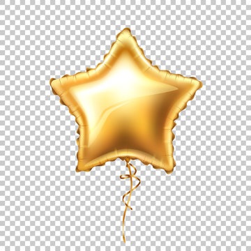 Vector realistic gold star shape balloon with lace