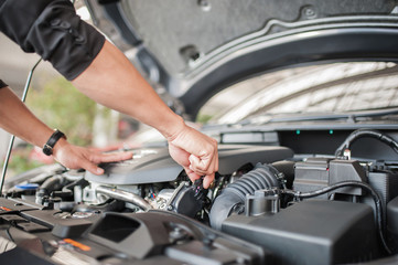 Car safety inspection and check engine accessories