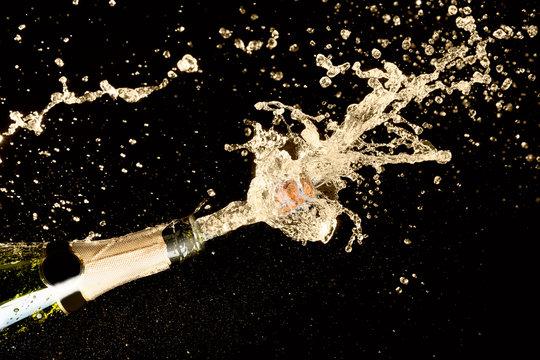 Celebration theme with explosion of splashing champagne sparkling wine on black background.
