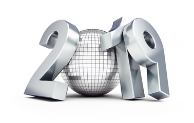 disco ball new year 2019 on a white background 3D illustration, 3D rendering