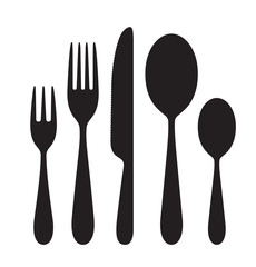 The contours of the cutlery. Spoons, knife, forks. Ready to use vector elements.