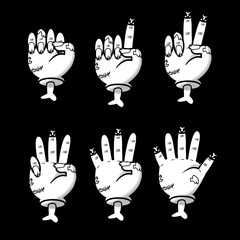 Zombie counting hand gesture set. Halloween counting hand sign from zero to five. Communication gestures concept. Vector illustration isolated on black background.