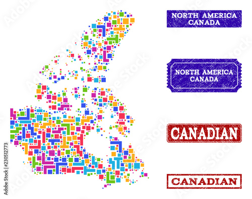 Mosaic tetris style map of Canada and corroded rectangle ...