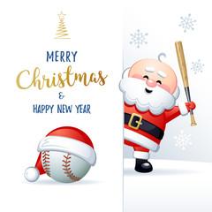 Merry Christmas and Happy New Year. Sports greeting card. Cute Santa Claus with Baseball ball and Baseball bat. Vector illustration.