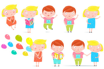 Colorful childish character boy and girl graphics. Vector illustration.
