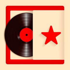 Realistic Vinyl Record with Cover Mockup. Retro design. Vector