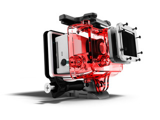 Modern red camera for extreme relaxation 3d render isolated on white background with shadow