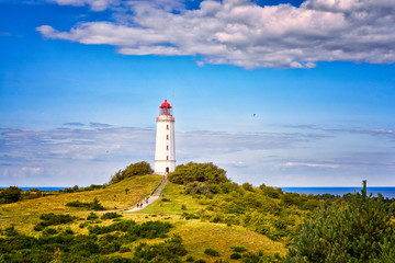 Deurstickers Noord Europa Dornbusch Lighthouse located in the north of the German island of Hiddensee in the Baltic Sea at sunny weather
