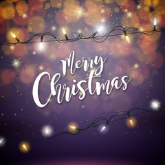 Merry Christmas Illustration with Glowing Colorful Lights Garland for Xmas Holiday and Happy New Year Greeting Cards Design on Shiny Violet Background.