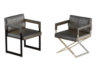 Two Black chair with iron legs on a white background 3d rendering