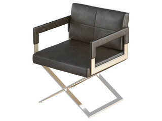 Black chair with iron legs on a white background 3d rendering