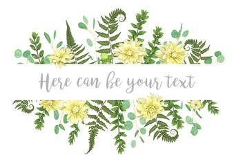 Vector illustration  green leaves of a forest fern, boxwood flowers of yellow dahlia and eucalyptus. Pattern for wedding invitations, greeting cards, banners