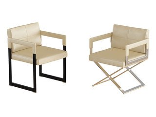 Two Beige chair with iron legs on a white background 3d rendering