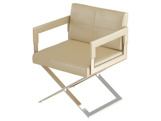 Beige chair with iron legs on a white background 3d rendering