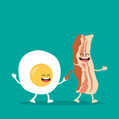 Funny characters egg and bacon.