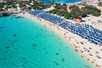 Garden Poster Cyprus A symmetrical aerial photo of a beautiful beach in Ayia Napa