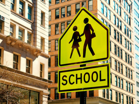 School road sign in new york city USA