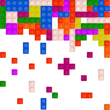 Wall from Plastic building blocks isolated on white background Vector